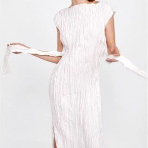 Zara White Crinkle-Effect Dress